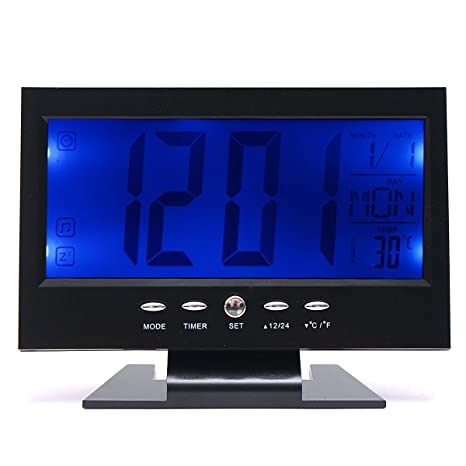 Werse Lcd Reloj De Mesa Digital + Alarma De Temperatura Del Calendario Sensor De Sonido Iluminado