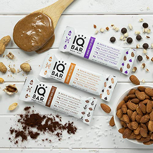 IQ BAR Brain + Body Bar, Chocolate Lovers Variety Pack, 10g Plant Protein, 1g Sugar, 4g Net Carbs, Keto, Paleo Friendly, Vegan, Gluten Free, Low Carb, 1.6oz Bar, 12 Count
