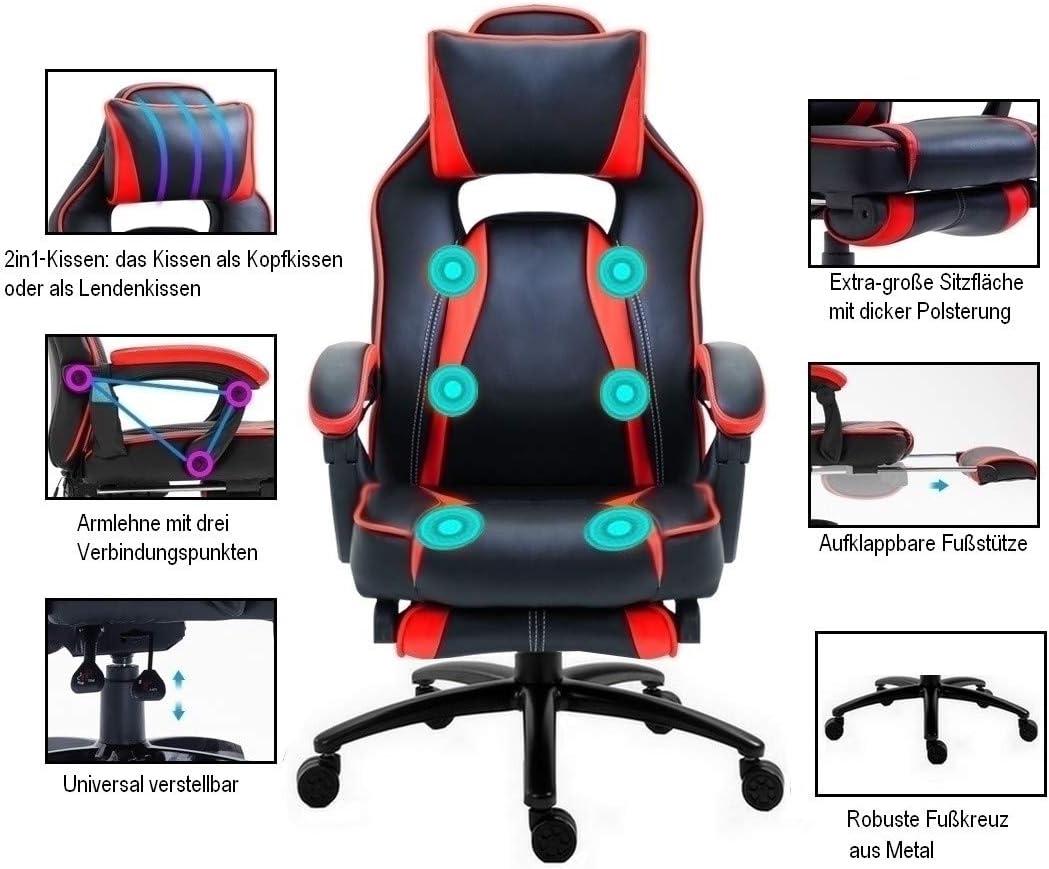 Massage Delman 0297 Gamingstoel, bureaustoel, XXL formaat
