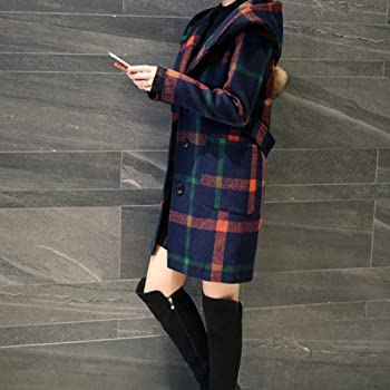 Women Fashion Long Sleeve Hooded Plaid Button Jacket Woollen Coat with Pocket