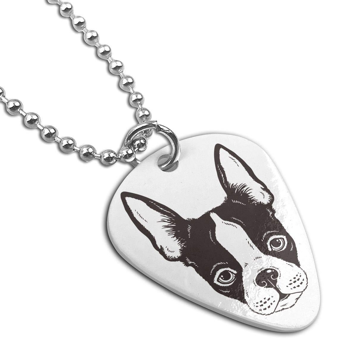 Boston Terrier Dogs Face Custom Guitar Pick Pendant Necklace Keychain