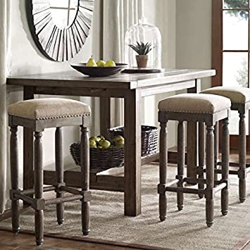 Renate Bar Stools, Set Of 2, These Rustic Distressed Renate Linen Counter Backless  Bar