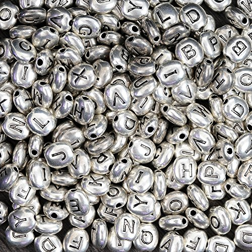 YUEAON 200pcs 6mm metal spacer beads with Alphabet letters antique silver tiny alloy beads for jewelry making bracelet necklace handmade diy