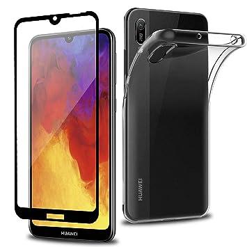 Wanxideng - Funda para Huawei Y6 2019 + Protectores de Pantalla in Cristal Templado, Carcasa Suave Delgado Claro Funda de Silicona TPU - Transparente