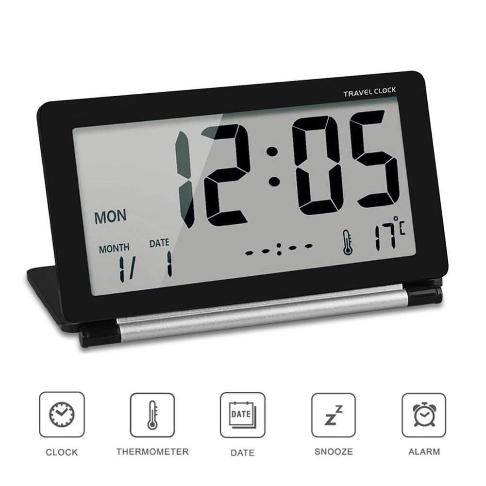 Black ZZM Travel Clock Folding Mini Silent Digital Alarm Clock With Smart Night Light Temperature Calendar Big LCD Display and Repeating Snooze for Home Office Travel Use