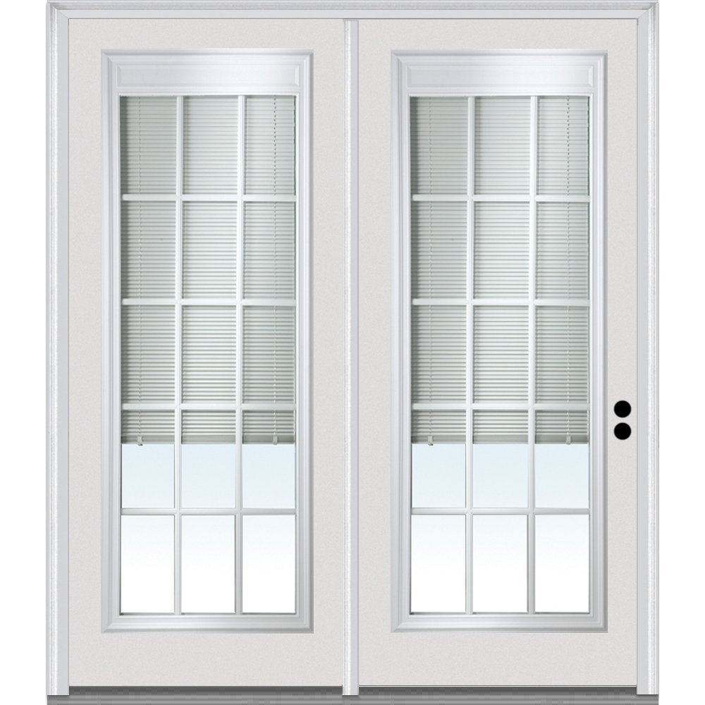 Left Hand In-Swing National Door Company Z001659L Steel Primed Center Hinged Patio Door Clear Glass Internal Blinds and Grilles 64x80