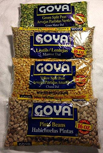 GOYA Dried Lentils, Pinto Beans, Yellow Split Peas & Green Split Peas - Variety Pack - 16oz Each 1 Lb Bag (4 Pack) Split Pea or Lentil Soup - Refried Beans - Recipes on Bag, Dip, Healthy Protein by Goya (Image #4)