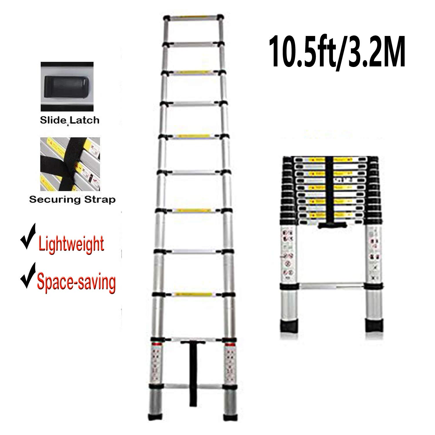 3.2M/10.5FT Aluminium Telescopic Ladder Portable Multi Purpose Ladder Steps Extension Extendable Ladder Perfect for Outdoor Indoor Builder DIY Jobs by Autofu