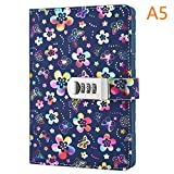 PU Leather Diary with Lock, A5 Size Diary with Combination Lock Password Journal Student Stationery Record Book Business Office Notepad (Multicolor)