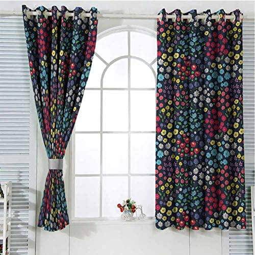 Garden Art Black Out Window Curtain 2 Panel Field in Full Blossom Various Different Flowers and Herbs Spring Day Fantasy Living Room Curtains for Bedroom W107 x L107 Inch Multicolor