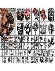 Tillfälliga tatueringar 56 stycken-vattentät arm tatuering liten tatuering, blommor kronor Animal Dragon Collection Tats för vuxna män och kvinnor