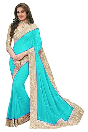 29a37779a Fragrance Trendz Chiffon Saree (Priya1 Skyblue Skyblue)  Amazon.in   Clothing   Accessories