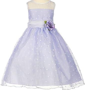 1d3327408 Amazon.com: BluNight Collection Polka Dot Sheer Illusion Neckline Little Girl  Flower Girls Dresses: Clothing