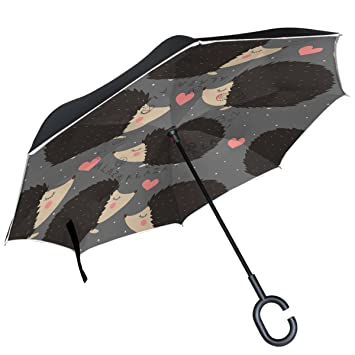 ALAZA negro erizo rosa corazón lunares paraguas invertido doble capa resistente al viento Reverse paraguas
