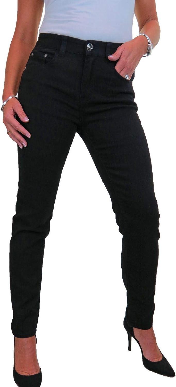 icecoolfashion Jeans da Donna in Denim Elasticizzato A Vita Alta Tinta Unita 42-54