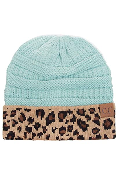 4d9aa38a764a2 ScarvesMe CC Women Classic Solid Color with Leopard Cuff Beanie Skull Cap  at Amazon Women s Clothing store