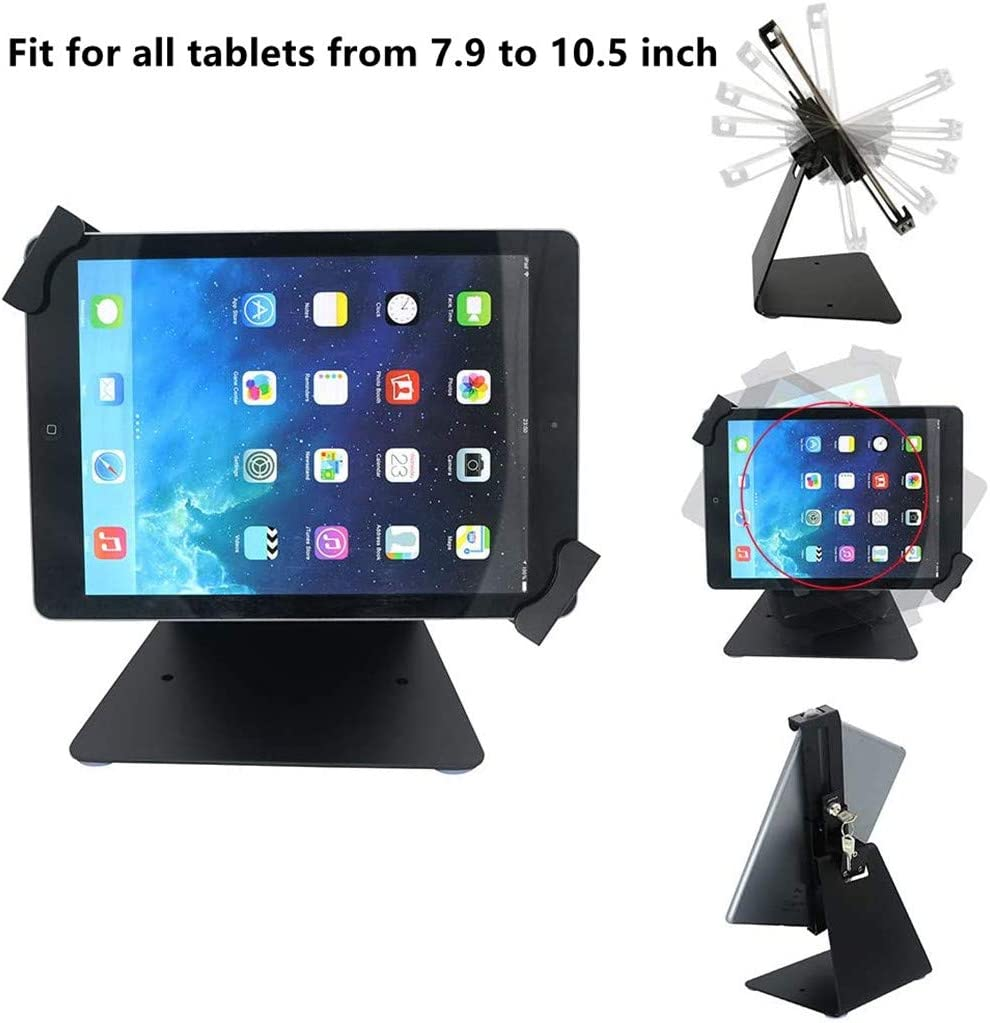 iPad Desktop Anti-Theft Security Kiosk POS Stand Holder Enclosure with Lock & Key for iPad air, iPad Mini, Galaxy Tab, Note 10.1, 7-10 inch Tablets, Flip & Rotate Design, Black