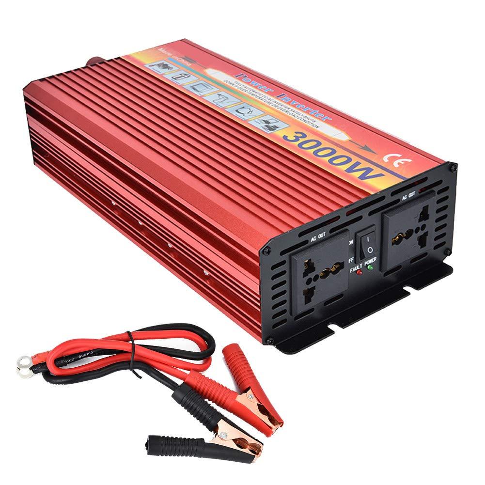 CAPTIANKN Power Inverter 3000 Watt, DC 12V to AC 110V 220V, Solar Inverter with 2 Universal Sockets,12vto220v
