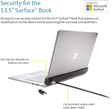 Navitech Security Anti Theft Adjustable Bracket with Steel Combination Cable Lock Compatible with The Microsoft Surface Book 2