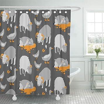 Shower Curtain 72x72 Inch Home Postcard Decor Cartoon Farm Animals Ram Sheep Chicken Goose Pig Butterflies