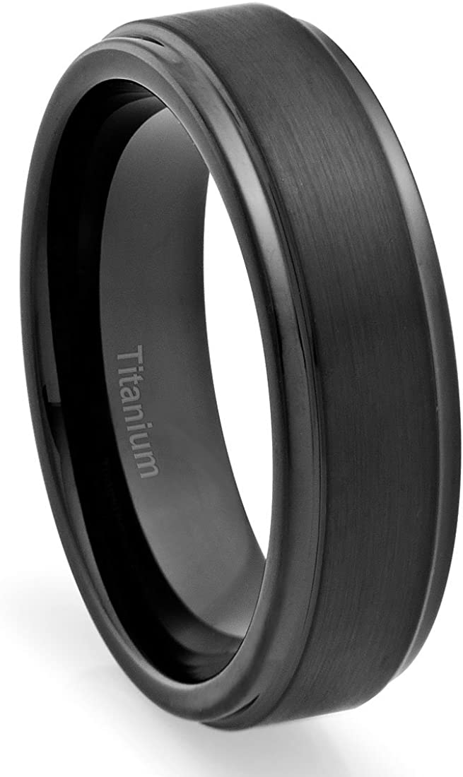 Cavalier Jewelers 6MM Titanium Ring Wedding Band Black Plated, Brushed Top and Grooved Polished Edges