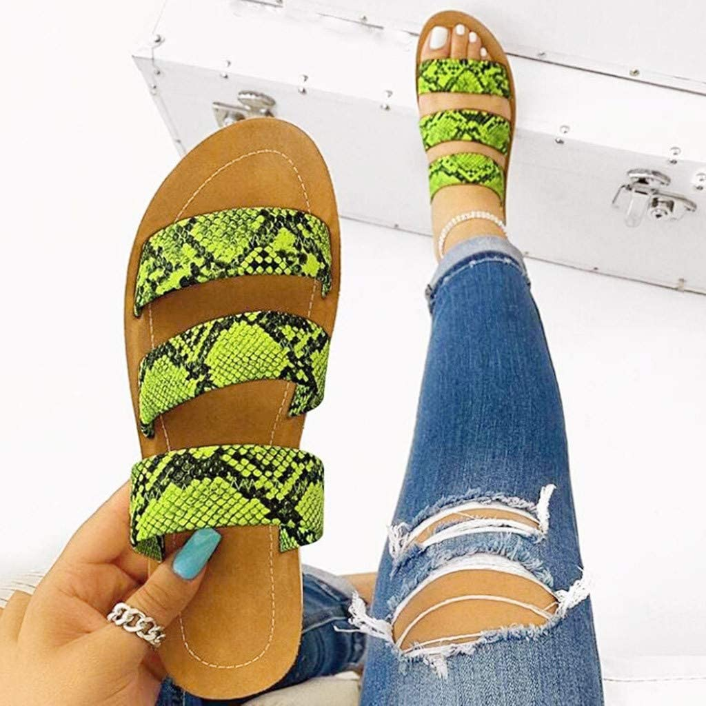 Comfy Snake Pattern Roman Shoes Casual Summer Beach Travel Indoor Outdoor Flip Flops Slipper Vedolay Sandals for Women