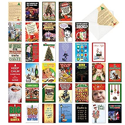 Image of: Cartoon 36 Pack Of Funny Christmas Cards Assortment Of Boxed Greeting Cards With 5x7 Envelopes Piximus Amazoncom 36 Pack Of Funny Christmas Cards Assortment Of Boxed