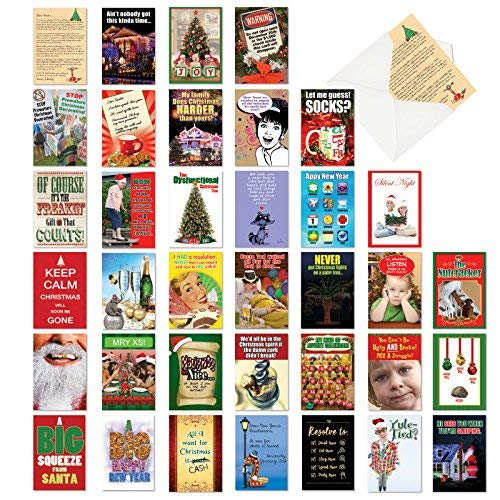 36 Pack of Humorous Holidays Collection - Funny Adult Humor, Profanity Christmas Note Cards with Envelopes (4.63 x 6.75 Inch) - Boxed Assortment of Xmas Greeting Notecards, Stationery AC6667XXG-B1x36