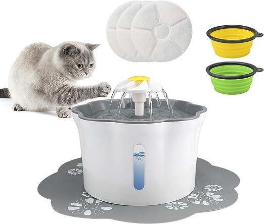 Omasi Bebedero Gatos Fuente silencioso para Mascotas, 2.6L Bebedero Automático Fuente de Agua para Gatos Perros 3 Modos Ajustable Con 3 Filtros de Carbón Activado: Amazon.es: Productos para mascotas