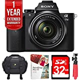 "Sony Alpha 7II Mirrorless Interchangeable Lens Camera w/ 28-70mm OSS Lens ILCE7M2K/B w/32GB Bundle Includes, Digital Camera Padded Carrying Case +12"" Rubberized Spider Tripod +32GB SDHC Memory Card"