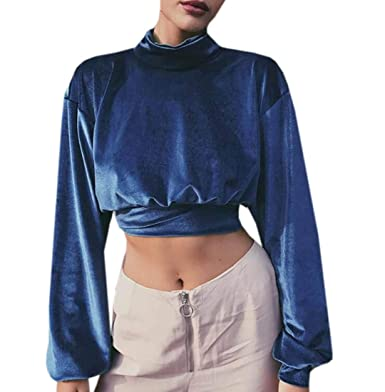 e544794d9f WNSY Women Plus Size Casual Turtel Neck Long Sleeve Velvet Crop Top T-Shirt  Dark