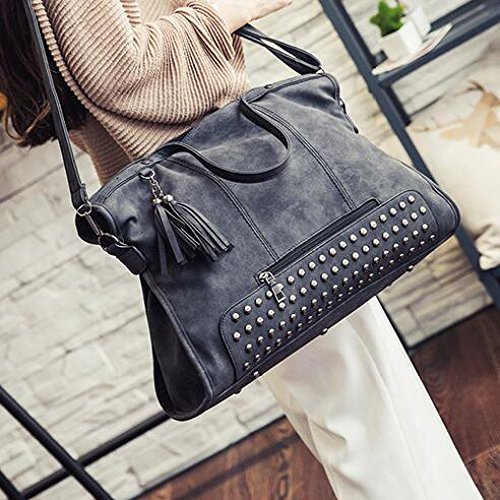 Black Vintage Tassels Rivets Bags Women's Handbags Shopping Capacity Bag Large Travel Tote Casual Shoulder CnOTZ