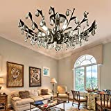 SPARKSOR Crystal Chandelier Ceiling Light, Modern Contemporary Elegant K9 Crystal Glass Chandelier Pendant Ceiling Lighting Fixture - Matte Black - 5 Lights
