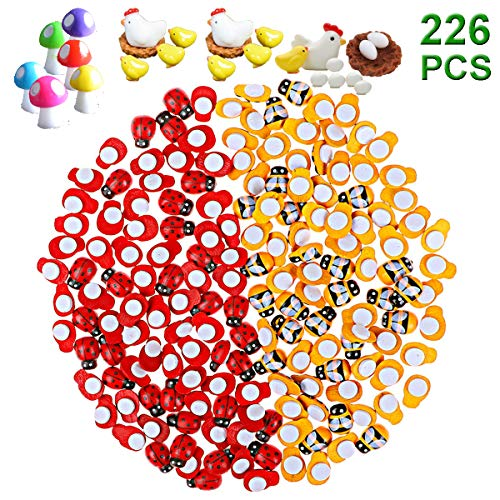 Y-Axis 226 Pcs Tiny Wooden Bee + Wooden Ladybugs + Hen & Chicken Family + Tiny Mushroom for Micro Landscape Craft Scrapbooking DIY -