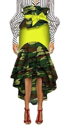 ShuangRun Falda de algodón Estilo Africano asimétrico para Mujer 7 ...