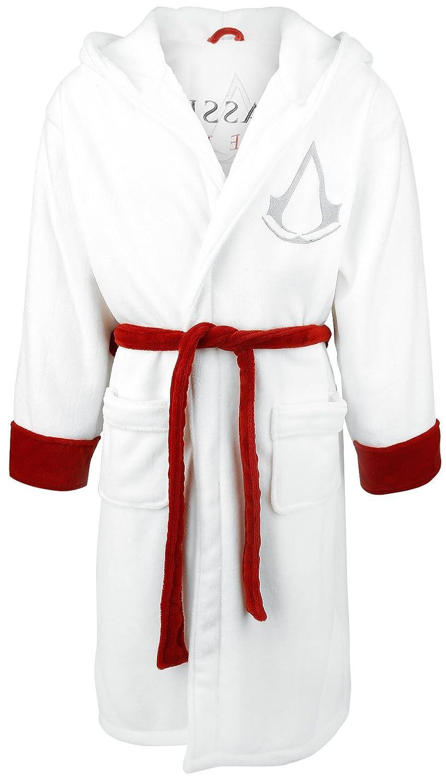 Amazon.com: Assassin\'s Creed Logo Bath robe white-red one size: Clothing