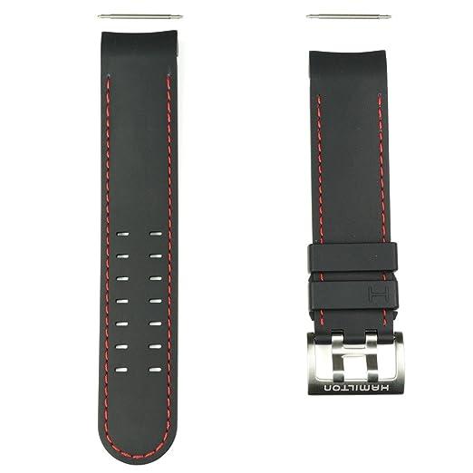 Correa caucho negro pespunte rojo reloj Hamilton Khaki Navy X-Wind Auto H600.776.117: Amazon.es: Relojes
