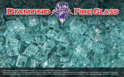 Caribbean Teal Nugget Diamond Fire Glass 5 Pound Bag For Sale