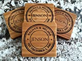 Monogram Wood Coasters for Drinks - Personalized Wedding Gifts, Bridal Shower Gifts (Set of 16, Jenson Design)