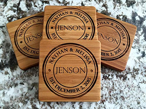 Personalized Wedding Gifts and Bridal Shower Gifts - Monogram Wood Coasters for Drinks (Set of 4, Jenson Design)