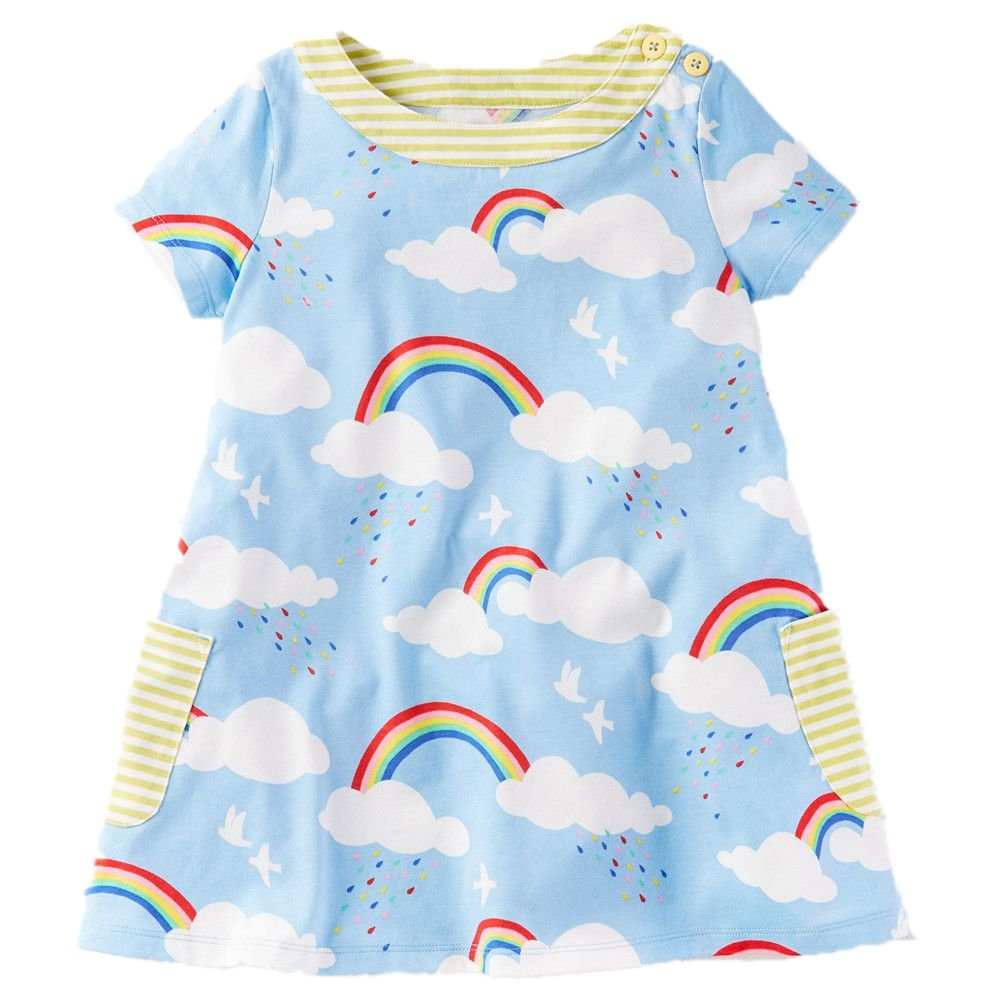 Little Girls Cotton Dress Short Sleeves Casual Summer Striped Printed Shirt by HILEELANG (Image #1)