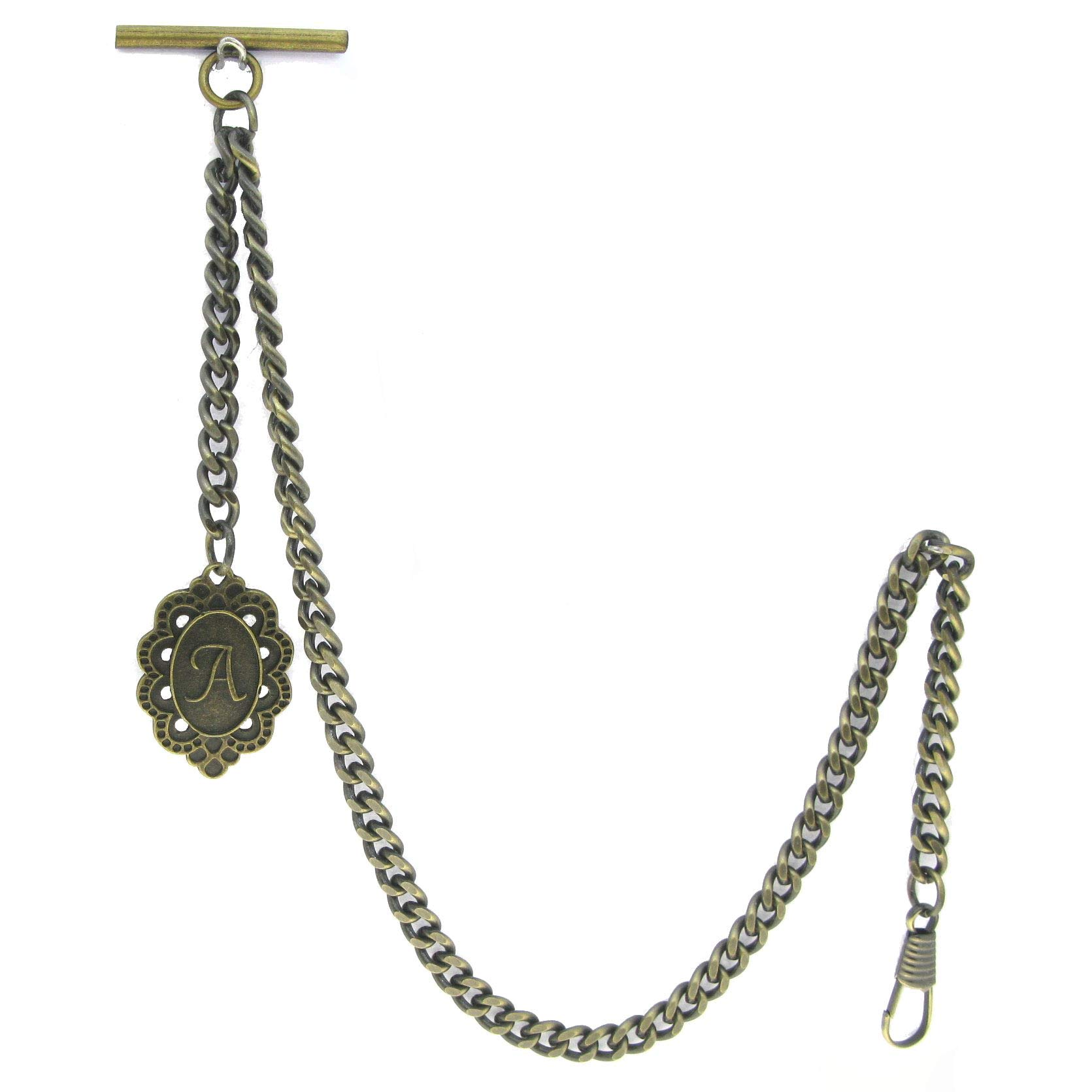 Albert Chain Pocket Watch Curb Link Chain Antique Brass Color + Alphabet A Initial Letter Fob T Bar AC89