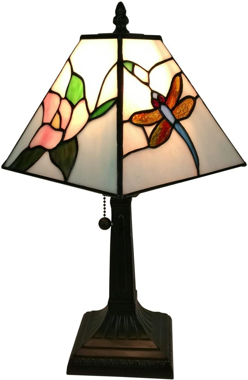 """Tiffany Style Mini Accent Lamp 15"""" Tall Stained Glass Pink Red Floral Dragonfly Vintage Antique Light Décor Nightstand Living Room Bedroom Office Handmade Gift AM220TL08 Amora Lighting"""