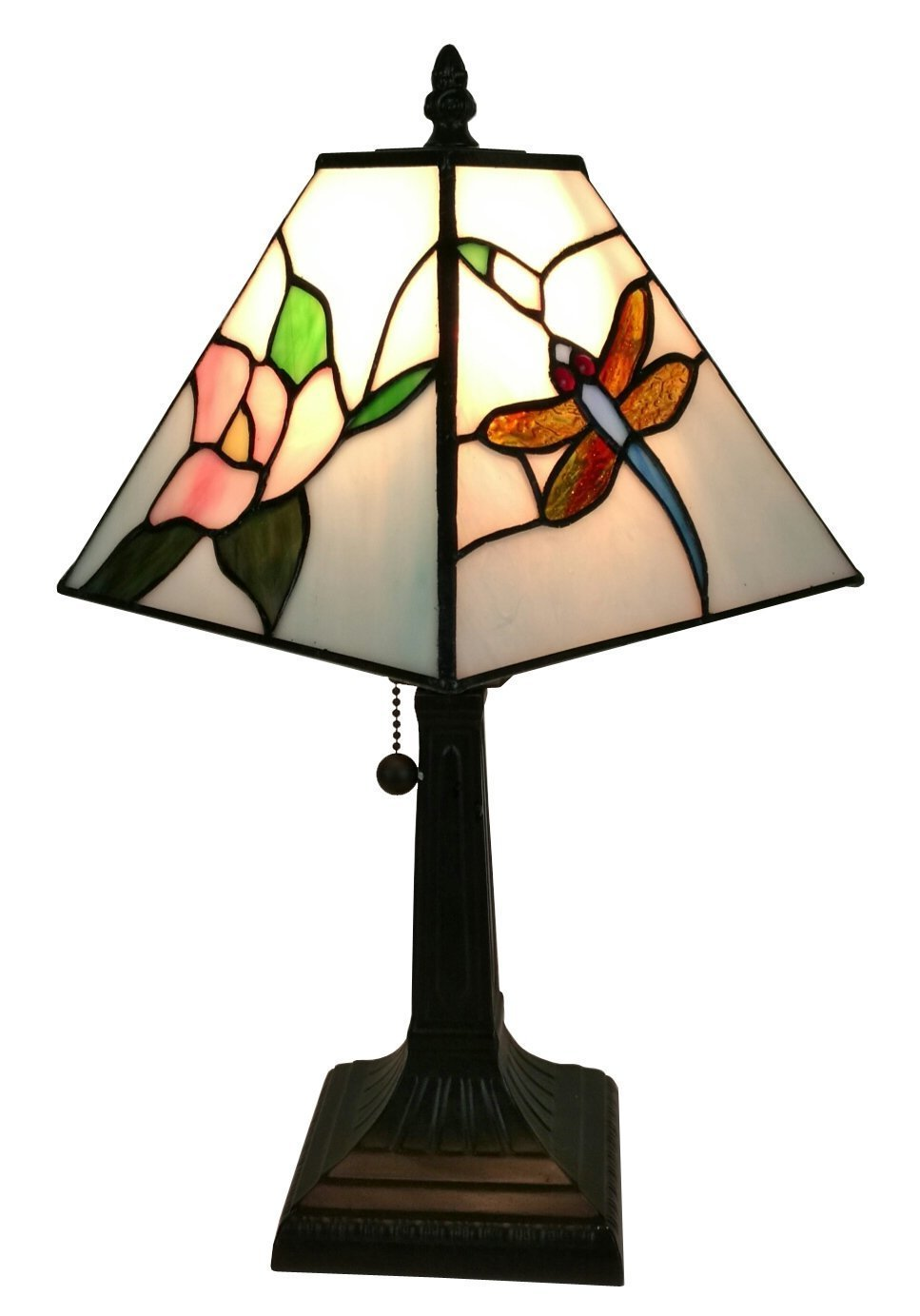 Tiffany Style Mini Accent Lamp 15 Tall Stained Glass Pink Red Floral Dragonfly Vintage Antique Light D cor Nightstand Living Room Bedroom Office Handmade Gift AM220TL08 Amora Lighting