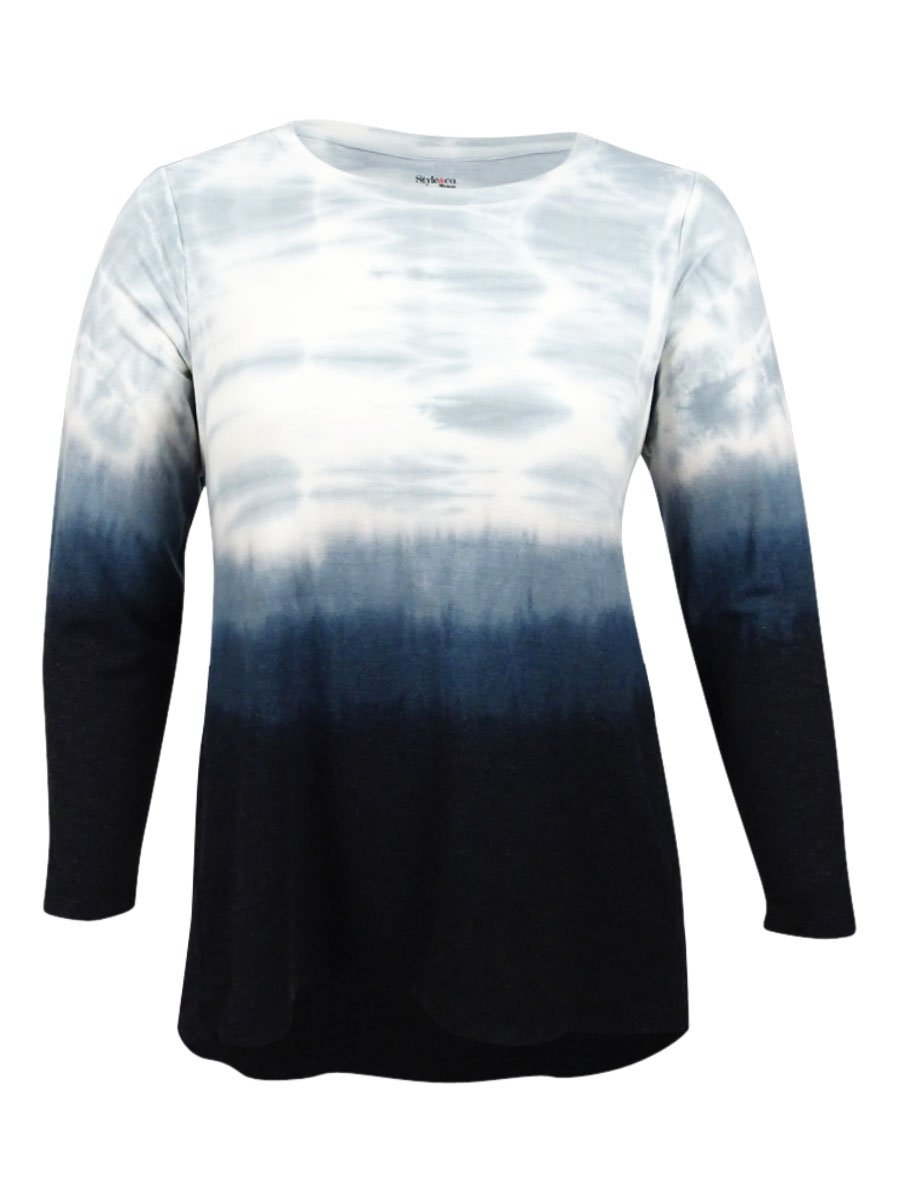 Style & Co. Womens Plus Ombre Long Sleeves Casual Top Black 1X