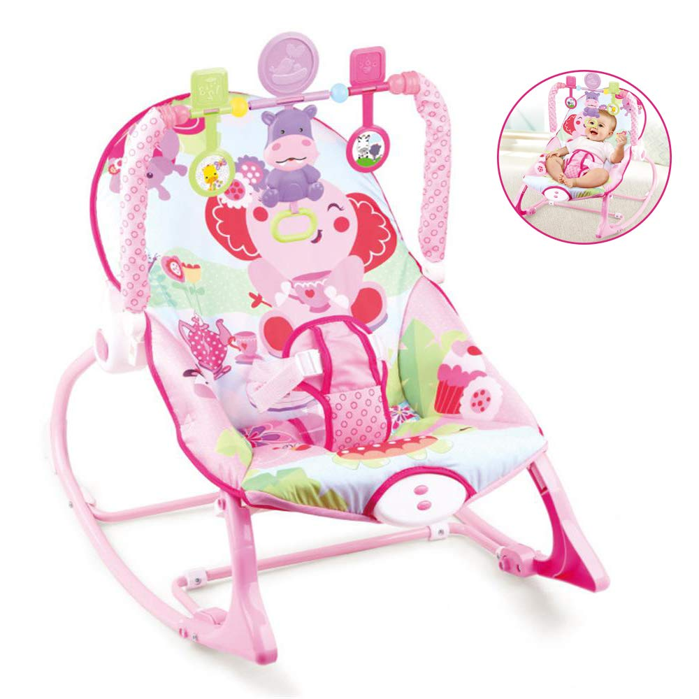 JFMBJS New-Born Rocker Chair, Bouncer for Baby with Activity Centre with Removable Toy Bar and Musical Melodies Soothing Vibrations by JFMBJS