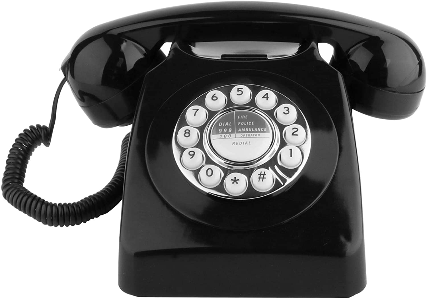 Sangyn Retro Landline Telephone Classic Rotary Design Old Fashioned Corded Desk Phone with Metal Bell for Home and Office,Black