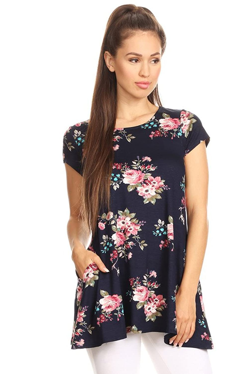 Womens Regular Size Floral Print Side Pocket Short Sleeve Tunic Top. MADE IN USA
