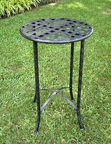 16 in. Iron Patio Side Table (Antique Black) by International Caravan