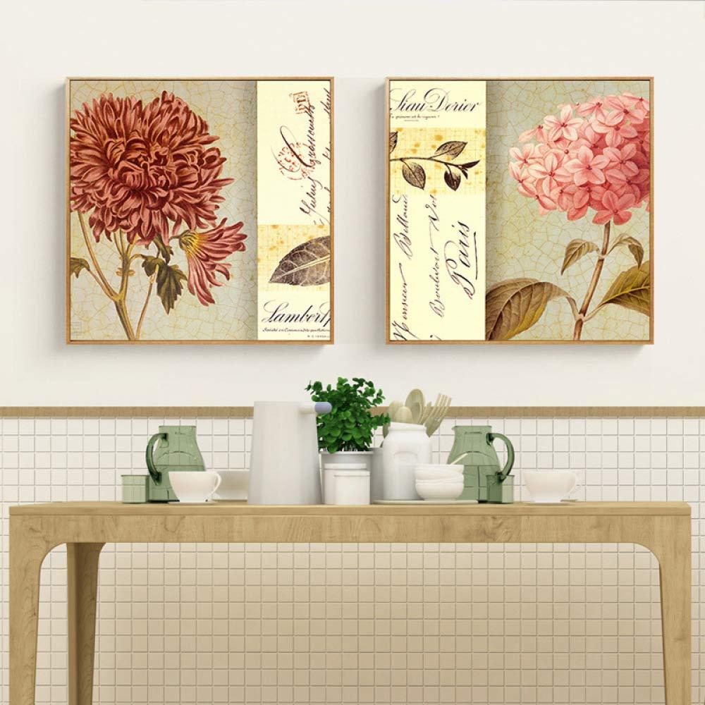 Decoración de la pared - pintura pintura pintura americana del vintage, pintura floral de la decoración de la pared, sala de estar con la pintura del marco, pintura colgante de la pared del chorro de tinta,,D,80  80 CWJ 91b0a2